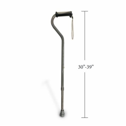 Offset Handle Walking Cane with Soft Rubber Grip - Pearl Grey Perspective: left