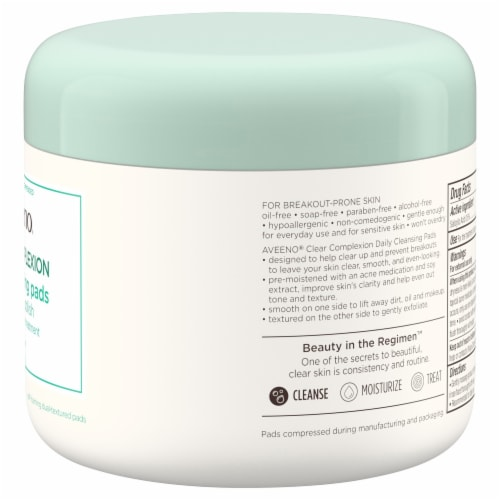 Aveeno Clear Complexion Daily Cleansing Self-Foaming Pads Perspective: left