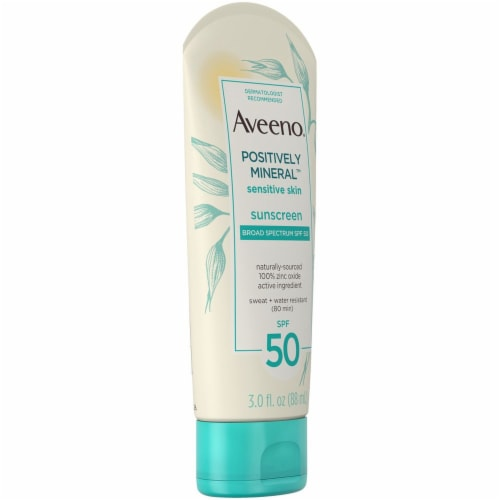 Aveeno Positively Mineral Sensitive Skin Sunscreen Lotion SPF 50 Perspective: left