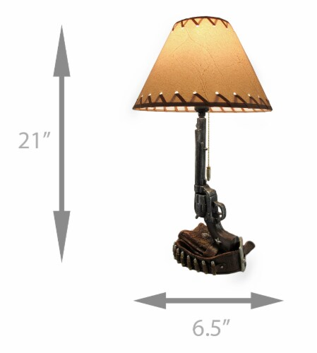Set of 2 Old West Six Shooter Revolver and Holster Table Lamps Perspective: left