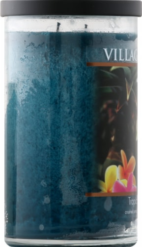 Village Candle Tropical Getaway Candle - Teal Perspective: left