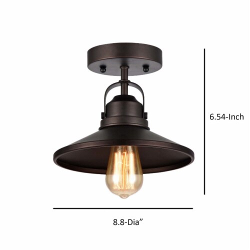 IRONCLAD Industrial-style 1 Light Rubbed Bronze Semi-flush Ceiling Fixture 9  Shade Perspective: left