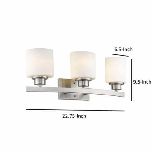 AALIYAH Contemporary 3 Light Brushed Nickel Opal White Glass 23  Wide Perspective: left