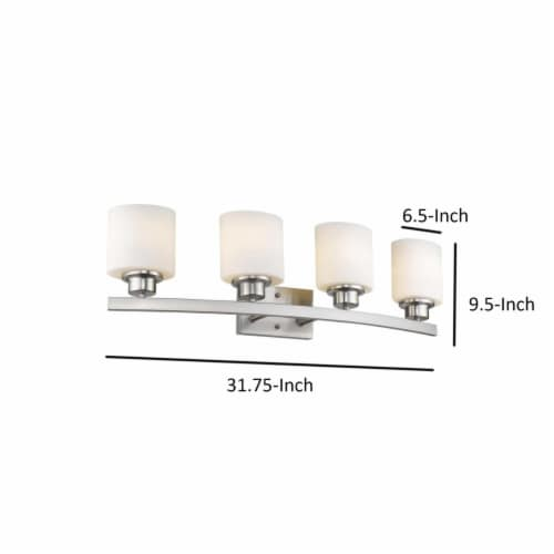 AALIYAH Contemporary 4 Light Brushed Nickel Opal White Glass 32  Wide Perspective: left