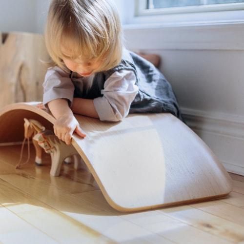 Kinderfeets Original Kinderboard Versatile Waldorf Wood Balance Board, Natural Perspective: left