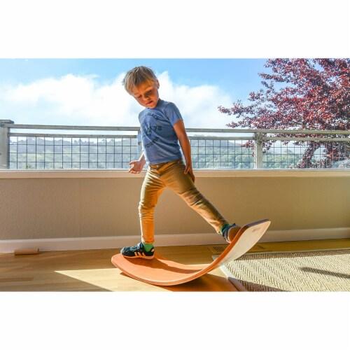 Kinderfeets Original Kinderboard Versatile Waldorf Wood Balance Board, Bamboo Perspective: left