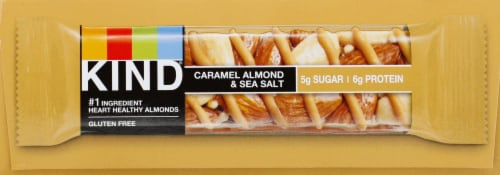 KIND Nuts & Spices Caramel Almond & Sea Salt Bars Perspective: left