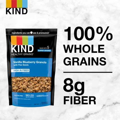 KIND Healthy Grains Vanilla Blueberry Clusters With Flax Seeds Perspective: left