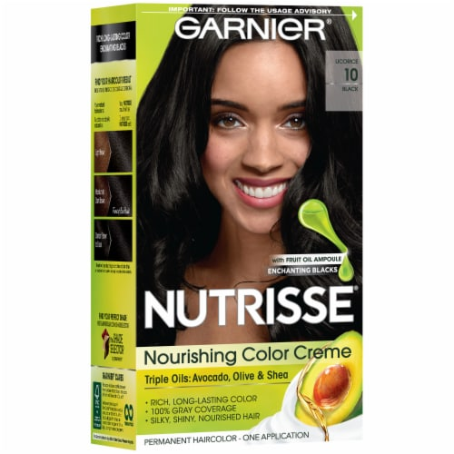 Garnier Nutrisse Nourishing Color Creme 10 Licorice Black Hair Color Perspective: left