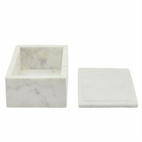 Marble 7X5 Marble Box W/ Bee Accent White Perspective: left