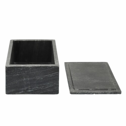 Marble 7X5 Marble Box W/ Bee Accent, Black Perspective: left