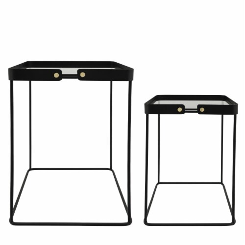 Metal, S/2 20/22 H Square Side Tables W/ Smokey Gl Perspective: left
