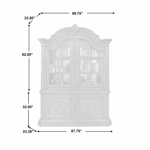 Home Fare San Mateo China Cabinet in Mahogany Brown Wood Perspective: left