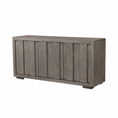 Home Fare Rustic Plank Front 3 Door Storage Console in Weathered Brown Perspective: left