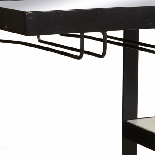 Industrial Metal and Marble Bar with Mirrored Top Perspective: left
