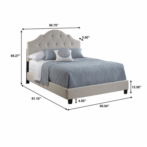 Scalloped Tufted Full Upholstered Bed in Cream Fabric Perspective: left