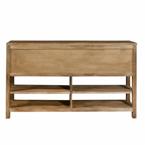 Rustic Brown Stone Inserts Wood Storage Console Table Perspective: left