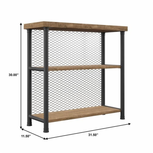 Industrial Metal Bookcase Rustic Oak Perspective: left