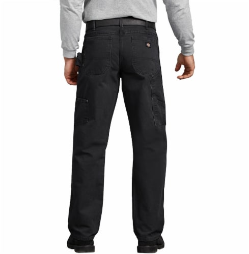 Dickies Men's Relaxed Fit Sanded Duck Carpenter Jeans - Rinsed Black Perspective: left