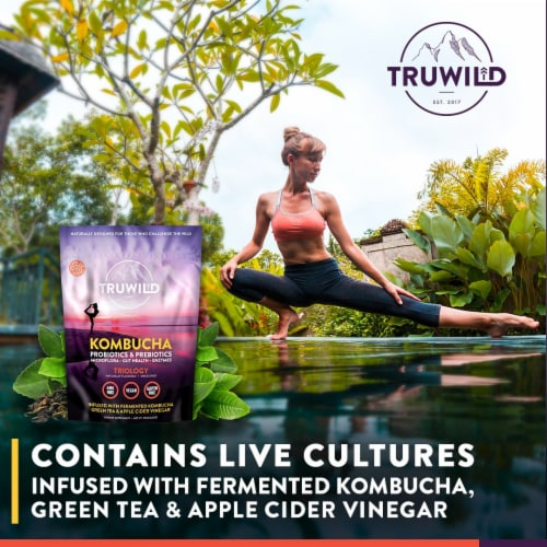Natural Kombucha Powder Probiotic Supplement - On-The-Go Powder (Mix with Water and Drink) Perspective: left