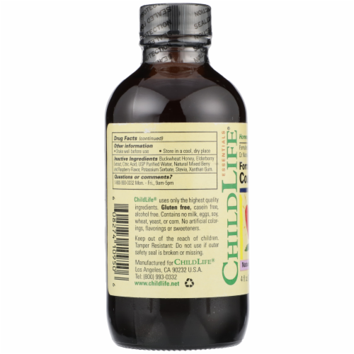 ChildLife Formula 3 Natural Berry Flavor Cough Syrup Perspective: left