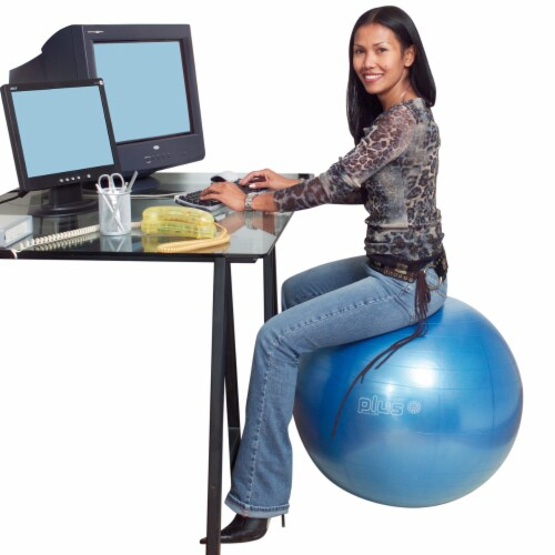 Gymnic Plus 26 Inch Fitness Ball - Blue Perspective: left