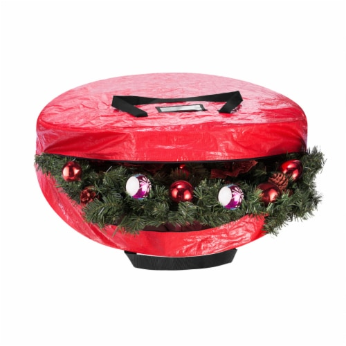 Christmas Tree and Wreath Storage Bag Organizers Zipper with Handles Red Perspective: left