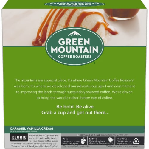 Green Mountain Coffee Caramel Vanilla Cream Coffee K-Cup Pods Perspective: left