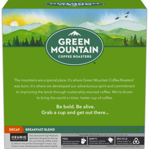 Green Mountain Coffee Roasters Breakfast Blend Decaf Light Roast K-Cup Pods Perspective: left