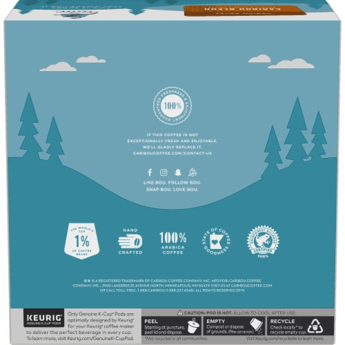 Caribou Coffee Caribou Blend Medium Roast Coffee K-Cup Pods Value Pack Perspective: left