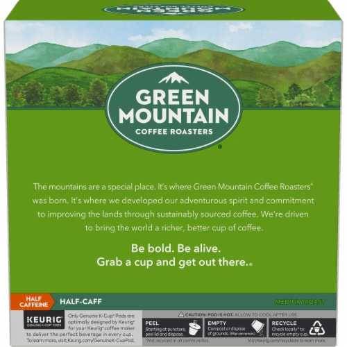 Green Mountain Coffee Half-Caff Medium Roast K-Cup Pods Perspective: left