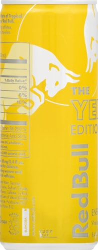 Red Bull Yellow Edition Tropical Energy Drink Perspective: left
