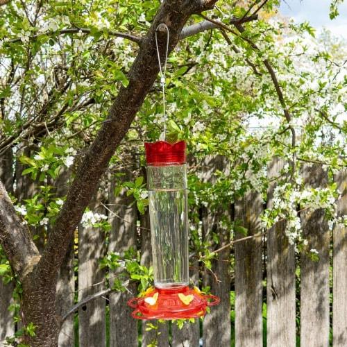 MEKKAPRO Outdoor Hummingbird Feeder Made from Glass, 5 Nectar Feeding Stations (20 Ounce) Perspective: left