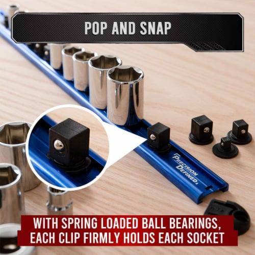 Precision Defined Aluminum Tool Socket Holder | Blue, Single 3/8  x 16 Clips Perspective: left
