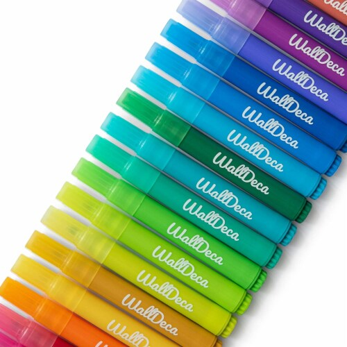 WallDeca Dry-Erase Thick Fine Line Markers, 25 Assorted Colors, Non-Toxic Art Tools for Kids Perspective: left