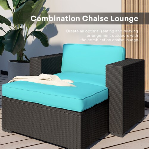 Kumo 6 Piece Patio Conversation Set Cushioned Sectional Sofa,Dark Brown Wicker Perspective: left