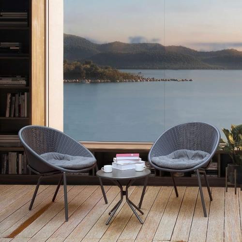 3-Piece Plastic Chair Set All-Weather Patio Conversation Set Perspective: left