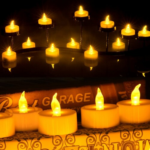 24pcs LED Tea Lights Timer Flameless Flickering Candles Amber Yellow Décor Perspective: left