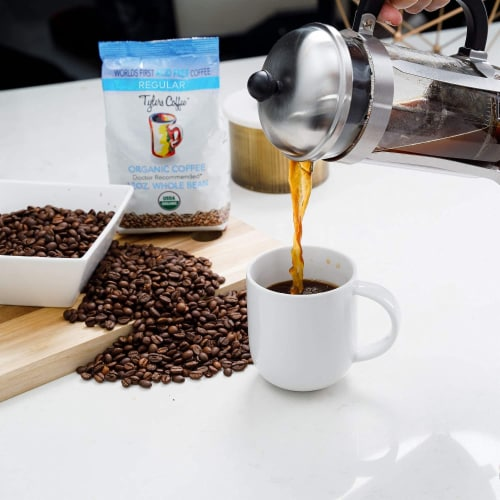 Tyler's No Acid Organic Coffee Beans - 100% Arabica Full Flavor- For No Acid Diets - 12 oz Perspective: left