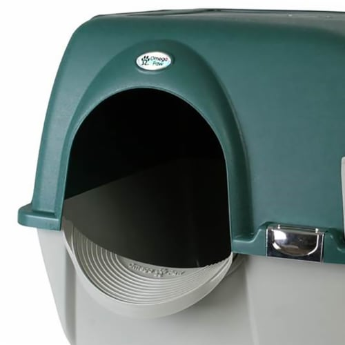 Omega Paw Roll'n Clean Unique No Scoop Self-Cleaning Home Cat Litter Box, Green Perspective: left