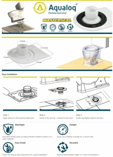 Aqualoq Masterseal Gasket Universal Toilet Seal for Secure Watertight Protection Perspective: left