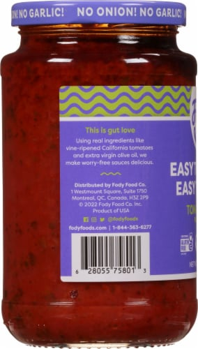 Fody Foods Tomato Basil Pasta Sauce Perspective: left