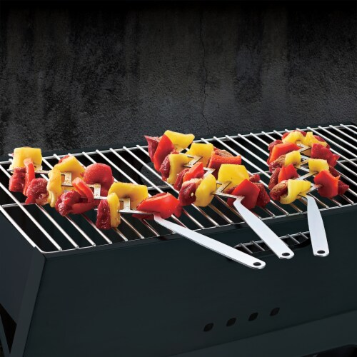 BBQCroc Stainless Steel 15 Inch Long Zig Zag 9 Prong Cooking Skewers (4 Pack) Perspective: left