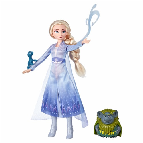 Frozen 2 Elsa Fashion Doll and Pabbie and Salamander Figures Perspective: left