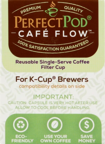 Perfect Pod Cafe-Flow Reusable Single-Serve Coffee Filter Cup Perspective: left