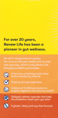Renew Life Everyday Probiotic Capsules Perspective: left