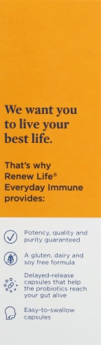 Renew Life Everyday Immune Dietary Supplement Capsules Perspective: left