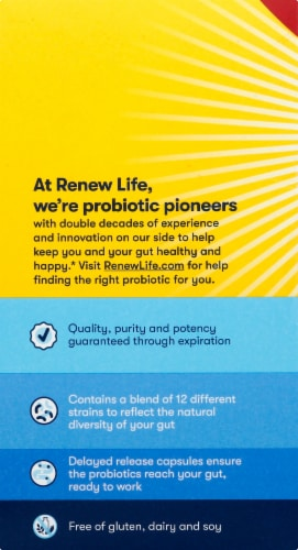 Renew Life Extra Care 30 Billion Live Cultues Ultimate Flora Probiotic Vegetarian Capsules Perspective: left