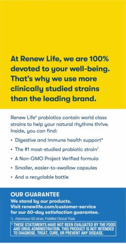Renew Life Extra Care Ultimate Flora Probiotic Vegetable Capsules Perspective: left