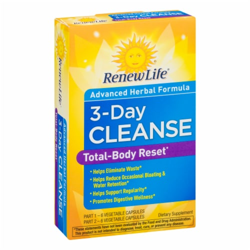 Renew Life 3-Day Cleanse Total Body Reset Dietary Supplement Vegetable Capsules Perspective: left